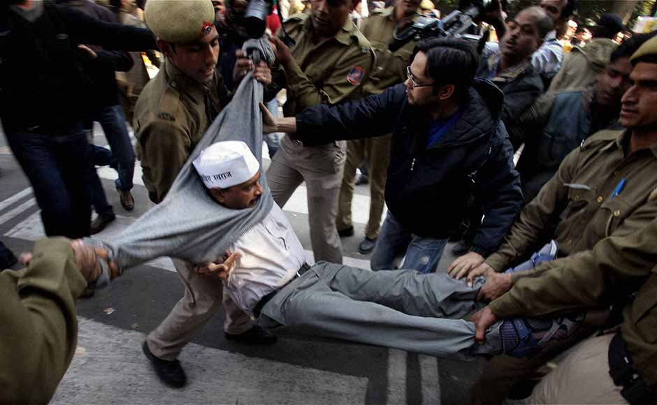 Police evicting Kejriwal from outside Sheila Dikshit's house a year ago.